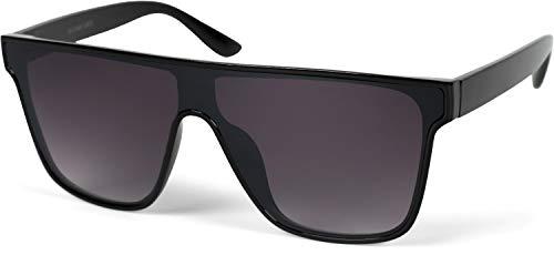 styleBREAKER Unisex Shield Monoglas Sonnenbrille, Polycarbonat Glas und Kunststoff Rahmen, Retro Nerd Style 09020108, Farbe:Gestell Schwarz/Glas Grau Verlauf