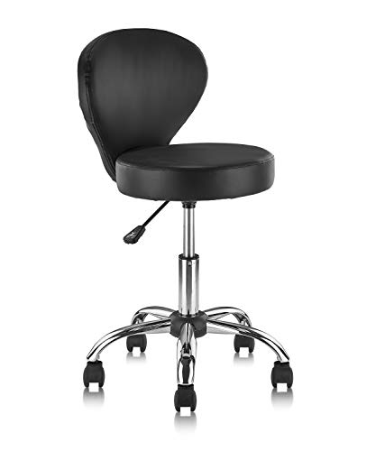 KLASIKA Rolling Swivel Salon Stool Chair with Back Support Adjustable Hydraulic for Office Massage Facial Spa Medical Drafting Tattoo Beauty Barber