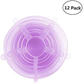 Silicone Stretch Lids Food Covers Silicone Reusable Durable and Expandable Lids Covers for Fresh Food & Leftovers Fit Various Shapes and Sizes Safe Silicone Stretch Lids - 12 Pack Purple