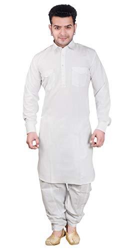 Desi Sarees Herren Hemdkragen Pathani Kurta Salwar Kameez 1854 (XXL (Brust - 44 Zoll), Weiß)