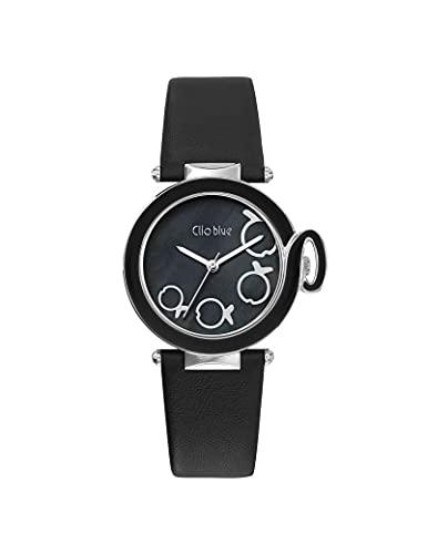 Reloj Clio Blue de piel para mujer, color negro