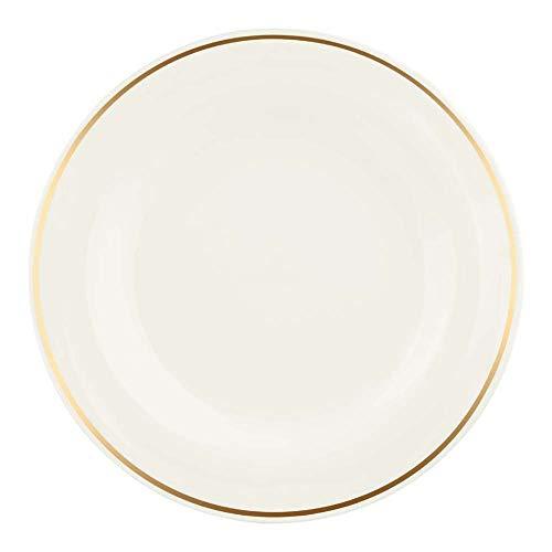 Seltmann 001.727788 Maxim Porzellan Teller, Flach, Rund, Creme/Gold, 10810 Goldlinie Goldrand Dekor, 28.4cm Durchmesser, 2.3cm Höhe, 6 Stück