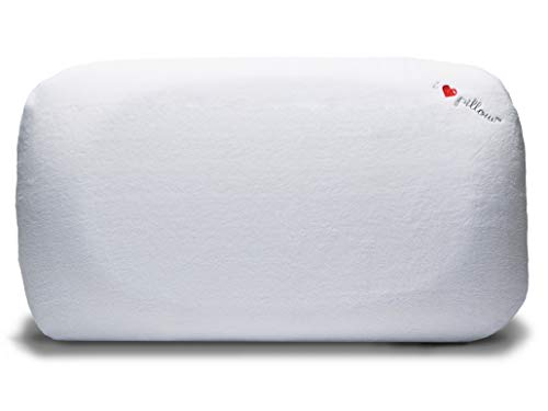 I Love Pillow Ergonomic Head Neck Contour Sleeping Pillow with Memory Foam Core and Removable Machine Wash Cover, King Sized, White