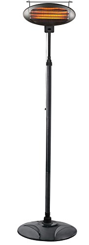 Hiland HIL-1500DI Calentador eléctrico para patio, 1500 vatios con control de calor variable, alto, negro