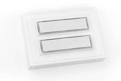 HUBER Aufputz Klingeltaster 2 fach aus Polystyrol - Türklingelknopf mit Namensschild beleuchtet - Haustürklingel Aufputz aus Kunststoff - Klingel Haustür 2 fach