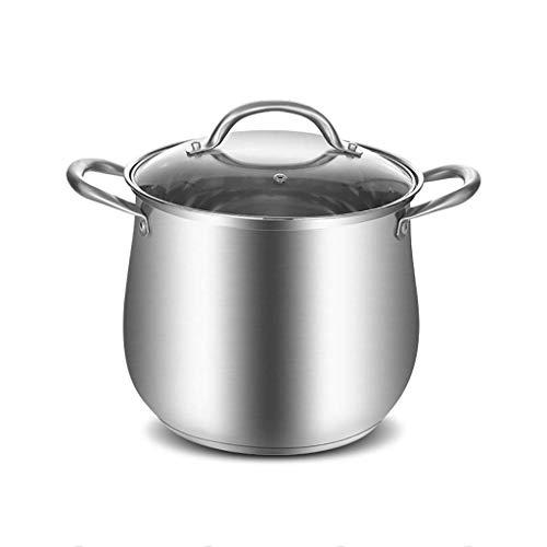 KaiKai Grandi profondità di Acciaio Inossidabile Cucina Pot della casseruola, Pentola, Coperchio Vetro temperato Cook Stock Pot, Parte Inferiore composita (Dimensioni: 25 * 21 cm) (Size : 21 * 19cm)