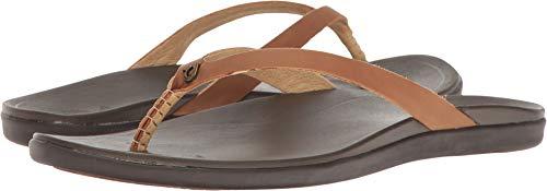 OLUKAI Women's Ho'Opio Sandals, Sahara/Dark Java, 8