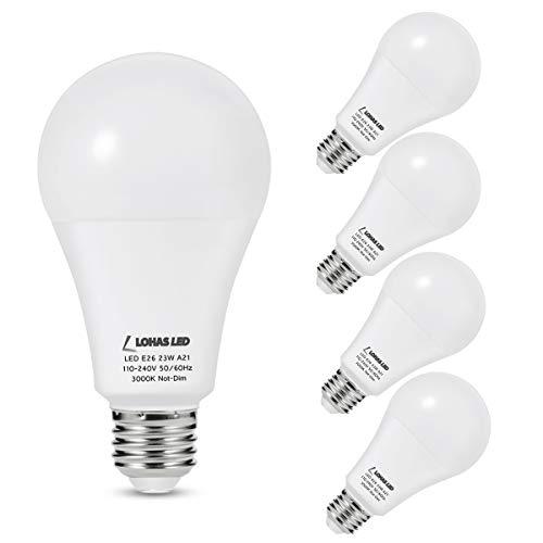 LOHAS 150W-200Watt Equivalent LED Light Bulbs, A21 LED 23W Bulbs, Soft White 3000K LED Lights 2550LM High Lumen, E26 Base Super Bright Incandescent Bulb Replace for Home Lighting, Non-Dimmable, 4Pack