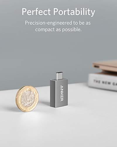 Anker USB-C auf USB 3.0 Adapter (Female), Superschnelles Lade und Datenkabel mit bis zu 5 Gbps, Kompatibel mit MacBook, Galaxy S8 / S8+, Google Pixel, Nexus 6P / 5X, LG V20/G5, und mehr(Grau)