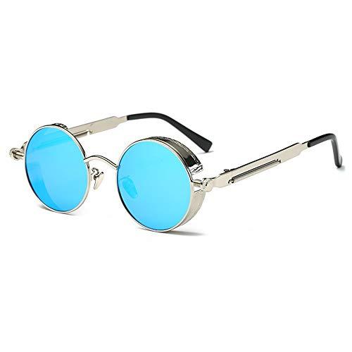 Yangmanini Gafas Redondas Polarizadas De Color Plateado/Dorado Retro Gafas De Sol for Hombres Y Mujeres for Correr Pesca Steampunk Wind (Color : Silver)