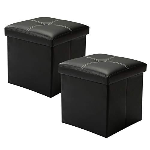 YCOCO - Taburete otomano de almacenamiento pequeño cubeta de reposapiés de piel sintética otomana de color negro 11.8 pulgadas x 11.8 pulgadas x 11.8 pulgadas, 2 unidades
