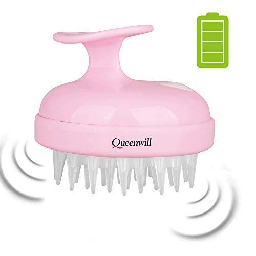 Kopfhaut Massage Elektrisch, Shampoo-Bürste, Handmassagegerät Kopfmassage für Kopf, Nacken, Schultern sowie Rücken, Kunststoffbürste mit Vibrationseffekt, stimuliert den Haarwuchs,wasserfest,Queenwill