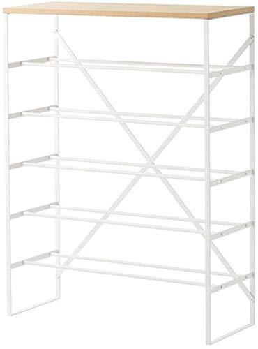 Zapatero Zapato de gabinete en rack de almacenamiento 6 Nivel de entrada apilable Estantes Organizador Permanente de Hogares estante de madera de hierro blanco que ahorra espacio de diseño fácil de mo