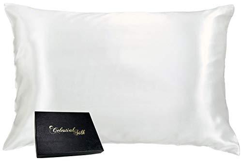 Celestial Silk 100% Silk Pillowcase for Hair Zippered Luxury 25 Momme Mulberry Silk Queen White