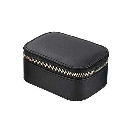 VVXXMO Caja de joyería simple imitación cuero PU pendientes collar pulsera almacenamiento estilo europeo portátil viaje joyería organizador contenedor regalos