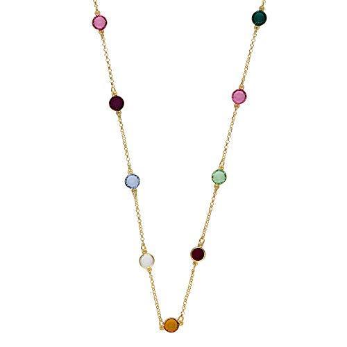 Córdoba Jewels   Gargantilla en Plata de Ley 925 bañada en Oro con Cristales by Swarovski con diseño Dolce Colors Gold