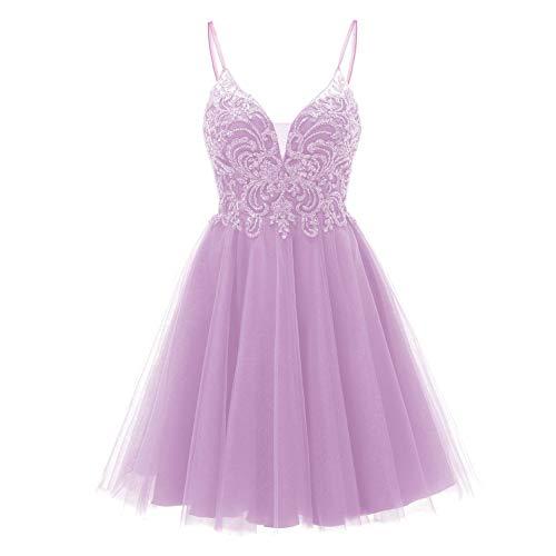 Short V Neck Homecoming Dresses Tulle Beaded Prom Dress Formal Gowns for Junior 2021 Lavender Size 4