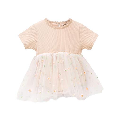 Baby Mood Tutu-Kleid mit Rundhalsausschnitt und kurzen Ärmeln mit Tutu und Blumenapplikationen, Tropfenverschluss mit Knopf auf der Rückseite Mädchen, 100% Baumwolle...