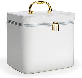 Effleur Premium Portable Cosmetics Makeup Case with Gold Handle, White
