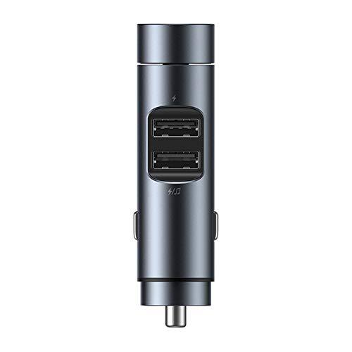 XLNB Bluetooth FM-zender voor auto, autolader audio-adapter en ontvanger handsfree bellen draadloze MP3-autolader met 2 USB-poorten afspeelregelingen, ruimte grijs