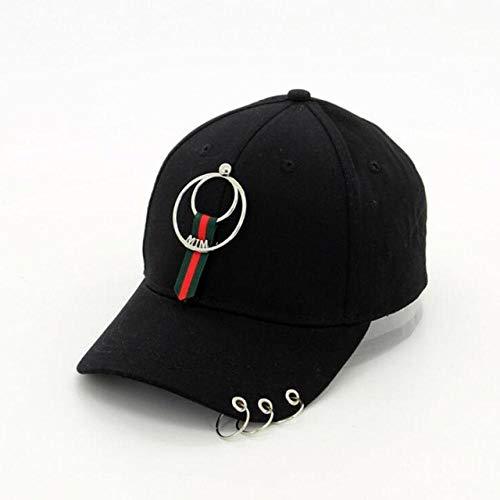 Gorra de béisbol con aros de hierro, color negro, Tricíclica