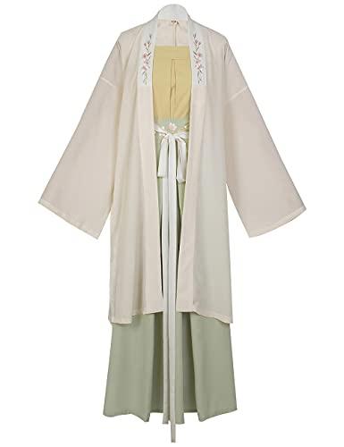 Vestido tradicional chino Hanfu para mujer Cancin Dinasta Elegante traje antiguo Cosplay traje conjunto de 3 piezas-white_L