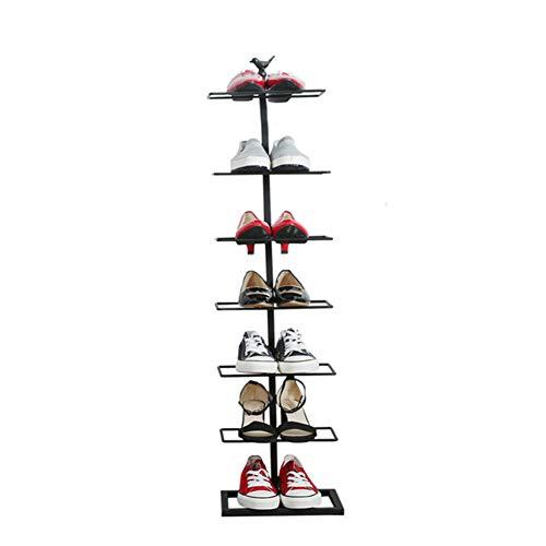 Sept-couche chaussure rack fer forgé simple maison de stockage de chaussures rack économie simple armoire à chaussures,Black