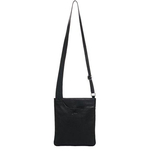 BACCINI Umhängetasche echt Leder ELI klein Schultertasche Handtasche mit Schultergurt Ledertasche Damen schwarz