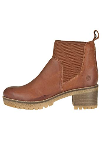 Apple of Eden Damen Ankle Boot mit Profilsohle mit Elastikeinsätzen, cognac, EU 37