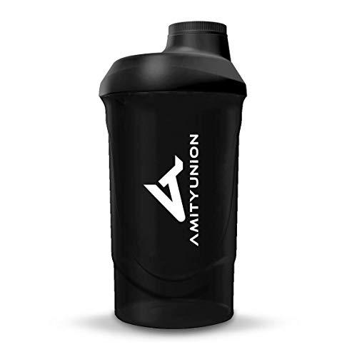 AMITYUNION Protein Shaker Deluxe 800 ml - Eiweiß Shaker auslaufsicher - BPA frei mit Sieb & Skala für Cremige Whey Proteinpulver Shakes Fitness Becher für Isolate und Sport Konzentrate Midnight Black