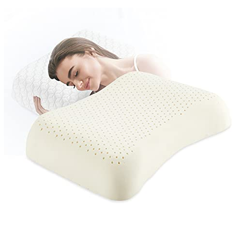 Natural Latex Pillow, Firm Hard Pillow with Ergonomic Design for Sleeping, High Elasticity & Breathable Cervical Pillow for Back, Neck, Side Sleeper, Solution for Neck and Shoulder Pain