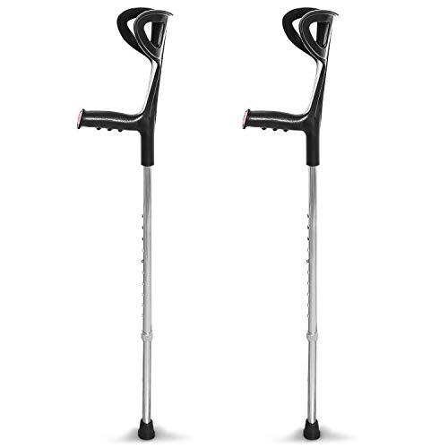 AIESI® Stampelle Ortopediche regolabili leggere in alluminio anodizzato colore nero (Confezione da 2 pezzi) # Garanzia Italia 24 mesi
