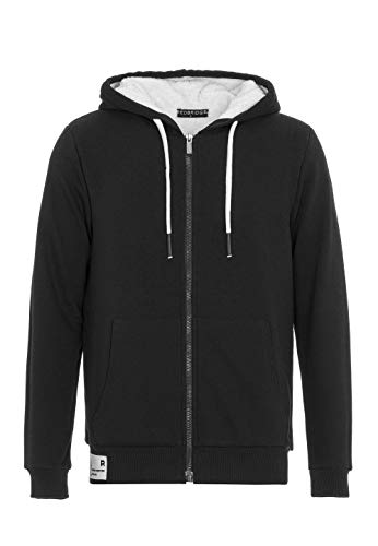 Pull à Capuche pour Homme Hoodie Veste de survêtement Fourrure synthétique Sweater avec Peluche Noir XL