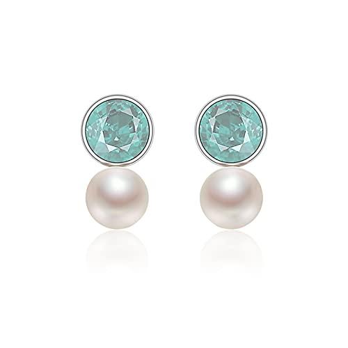 zunruishop Pendiente Pendientes de Perlas de Agua Dulce de Plata S925 7-8mm Pendientes de Opal de Forma de Bollo al Vapor para Mujeres Pendiente de cartílago