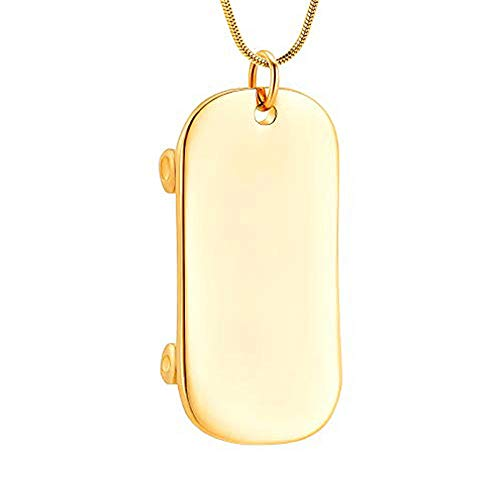 QQAQQ Ashes Necklace Skateboard Cremation Jewelry for Ashes Stainless Steel Keepsake Pendant Holder Ashes for Pet Human Memorial Urn Necklace-Gold_Necklace Box Funnel