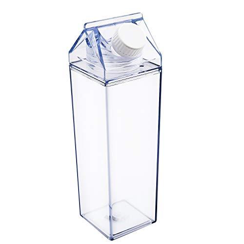 LUTER Butelka na wodę, przezroczysta, kwadratowa butelka na mleko, szczelna, plastikowa butelka na sok na świeżym powietrzu, do uprawiania sportu, na kemping, do wspinaczki (500 ml)