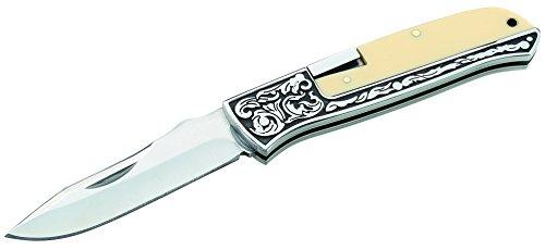 Herbertz Taschenmesser, Stahl AISI 420, rostfrei, Back Lock, Acryleinlagen, verziertes Edelstahlheft, Fangriemenöse