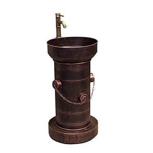 BATHYJ Waschbecken, Eisen Kunst, hohe Qualität Loft Industrial Style bodenstehend Waschbecken (Farbe : Rotes Kupfer)