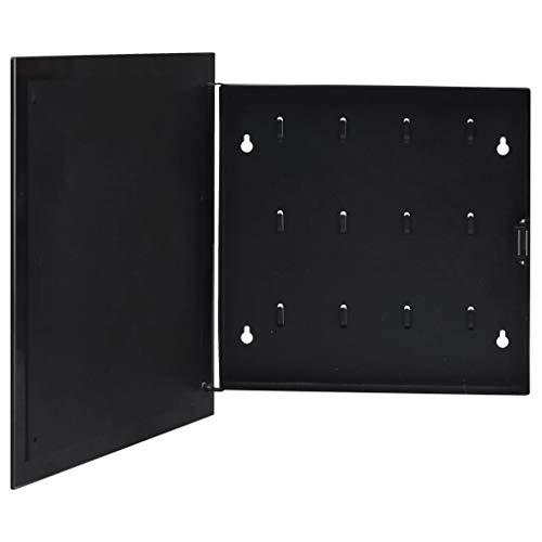 vidaXL Caja de Llaves con Tablero Magnético Armario de Pared Llavero Ganchos Almacenamiento Sala de Estar Oficina Hogar Negra 35x35x5,5 cm