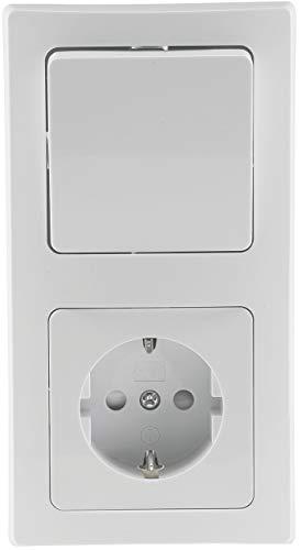 Delphi Steckdose mit Schalter Kombination 230V Schutzkontakt-Steckdose mit Wechsel-Schalter 2-Fach Rahmen Unterputz Weiß