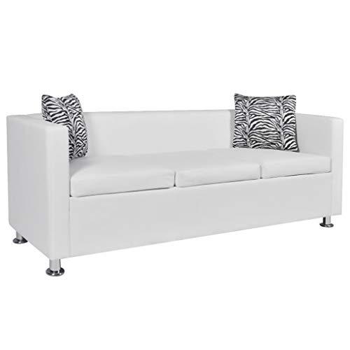 vidaXL Sofá Blanco de Cuero Artificial, 3 plazas Bricolaje Muebles casa Asiento
