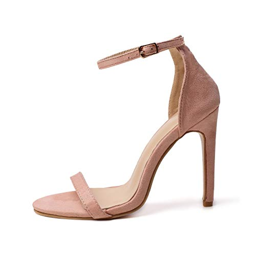El estilete abierto del dedo del pie de las mujeres, las sandalias de tacón de las mujeres puntiagudo Toe One Band talón fino para el vestido de la boda del vestido de señora Zapatos de noche,nude,39