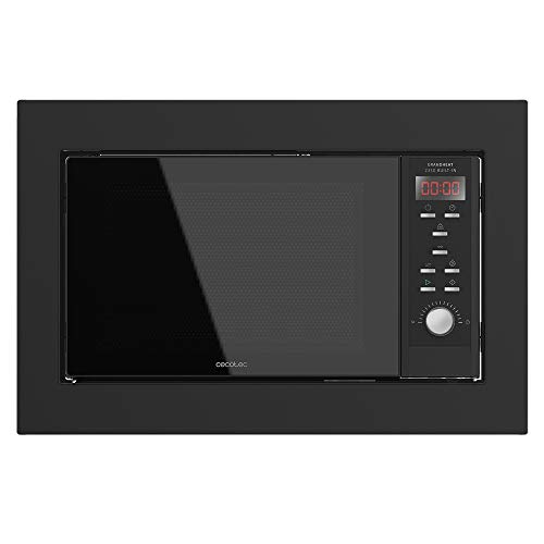 Cecotec Microondas encastrable Digital GrandHeat 2350 Built-In Black. 900W, Integrable, 23 Litros, Grill, 9 Funciones preconfiguradas, Quick Start, Temporizador