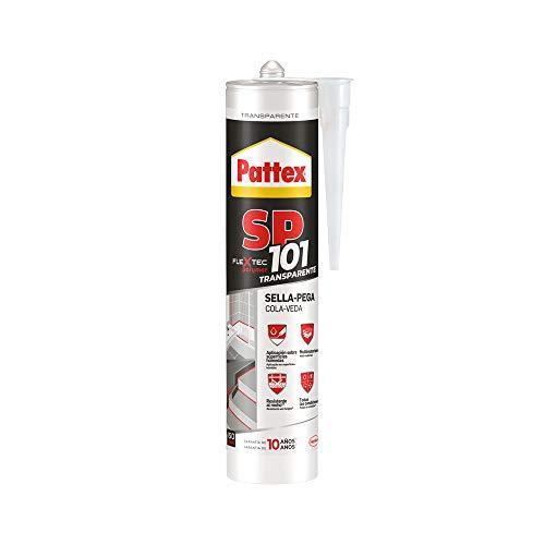 Pattex SP101, sigillante trasparente per interni ed esterni, sigillante liquido sigilla e incolla multimateriale, sigillante polimerico in cartuccia, 1x280ml