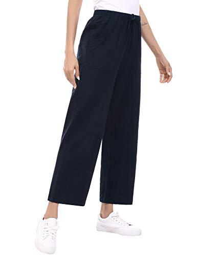 Hawiton Damen Hose Lang Sporthose Baumwolle Pyjamahose Lang Hosen Yoga Running Gym Stretch Dehnbares Weiches Pyjamahose mit Taschen