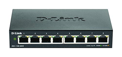 D-Link DGS-1100-08V2 Smart Switch Gestito, 8 Porte Gigabit, Supporto VLAN, Funzionalità layer 2, QoS, 802.3az EEE, Senza Ventole