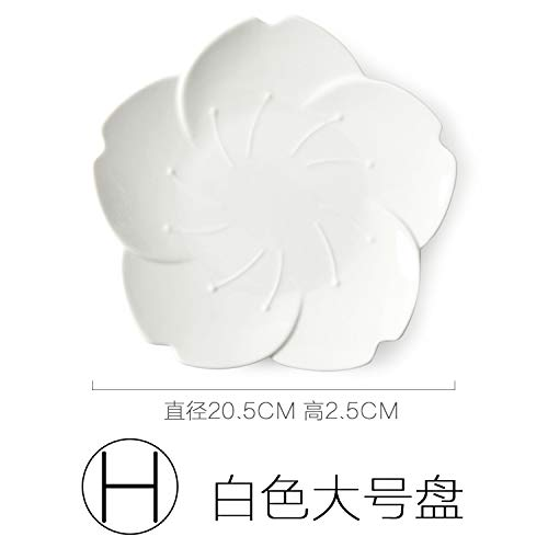 YUWANW Sakura Japanese-Style Ceramic Dishes Sub-Dish Plate Cutlery Sets Creative Dishes Breakfast Fruit Plate Inventory Heart Dish, H Large White Plate