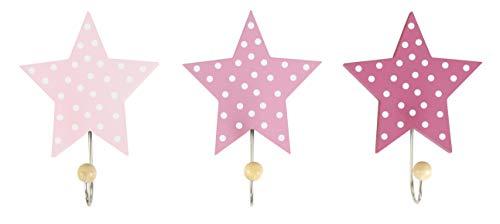 JaBaDaBaDo 'Wandhaken Sterne rosa 3er Set Kinder Garderobe Kleiderhaken Mädchen rosa rot pink