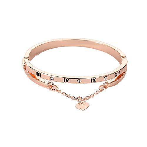 Nuevo lujo oro rosa acero inoxidable pulseras brazaletes mujer corazón siempre amor marca encanto pulsera mujeres famoso joyería regalos