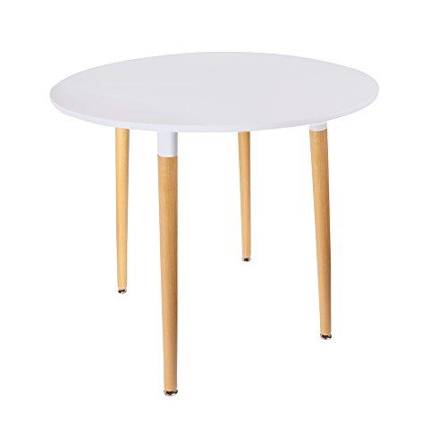 THE HOME DECO FACTORY HD3210 Table Blanche Ronde, Bois/Métal/PP, Blanc, 76x76x75,5 cm